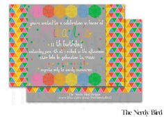 Multicolored Triangle and Flower Design Printable Birthday Invitation by TheNerdyBird1 on Etsy https://www.etsy.com/listing/192989003/multicolored-triangle-and-flower-design
