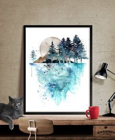Nature Wall Art, Tree Painting , Landscape Paintings Print, Watercolor Art Print, Watercolor Painting ,Watercolor Art, Watercolor Print(219)