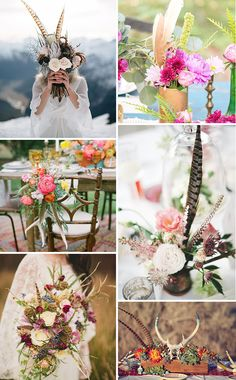 Boho Wedding Feather Flowers & centrepieces | www.onefabday.com
