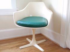 Burke Inc. White Fiberglass and Steel Tulip Chair by thriftessa, $185.00