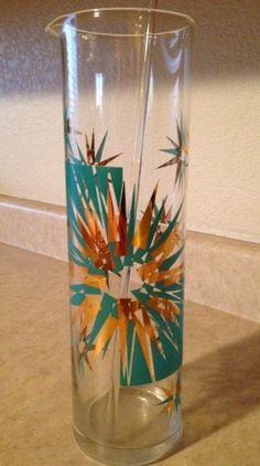 1940s 1950s gay fad glass bar ware set aqua and gold starburst mid century modern on Etsy, $49.99