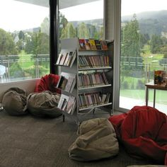 Bean Bags. One feature of this library is its relaxed reading area in front of north facing windows | Services to Schools