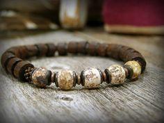 Beautiful men Bracelet natural stone Agate Brown beads ...