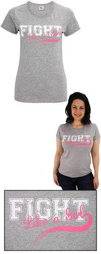"""Fight Like A Girl Collegiate Tee at The Breast Cancer Site. Cheer on fellow supporters and survivors who embody the team against breast cancer with our soft heather gray tee. """"Fight Like a Girl"""" boldly graces the front of the tee in classic college sports font."""