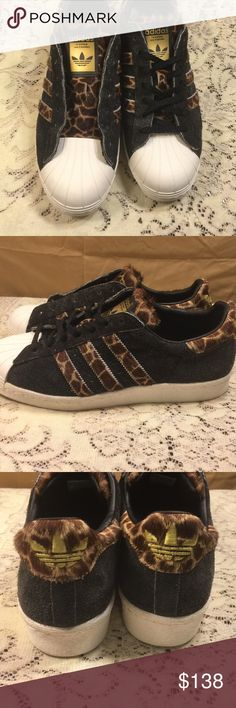 Authentic RARE Giraffe Adidas sneakers These sneakers are in EXCELLENT condition! Worn once! No scuffs! Slight discoloration on bottom from being worn once but nothing around the white rim of the show as u can see! I got these for myself thinking they were women's size but sadly 😢 they weren't! They can fit Women's size 11 tho😍 get these while u can they WILL GO FAST💸 Adidas Shoes Sneakers