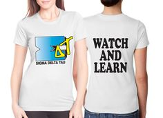 """Greek Recruitment Tees and Apparel """"Watch and Learn"""" Design #Greek #Sorority #Clothing #Recruitment #Rush #BidDay"""