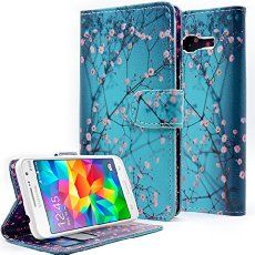 Samsung Galaxy Grand Prime Case, NageBee - Design Dual-Use Flip PU Leather Fold Wallet Pouch Case Premium Leather Wallet Flip Case for Samsung Galaxy Grand Prime (G5308 G530) (Wallet plum blossom)