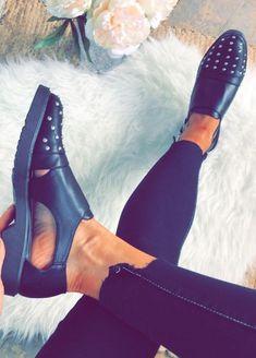b965e22c74ce fearlesss black studded shoes Studded Flats
