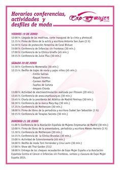 Agenda de actividades de Expo Mujer España, los días 19, 20 y 21 de Junio. Pabellón de Cristal-Casa de Campo (Madrid)