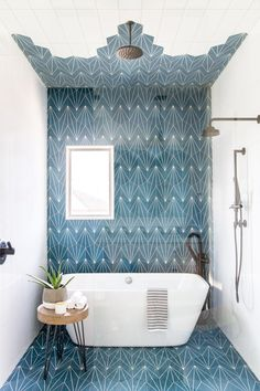 This Kids' Is So Chic That Even Adults Will Be Jealous, boho bathroom with bold tile, bole blue geometric tile in bathroom design with modern slipper tub, modern free standing bathtub in bold modern bathroom, fun kid bathroom design with blue tile Bad Inspiration, Bathroom Inspiration, Style At Home, Bathroom Interior, Boho Bathroom, Bathroom Ideas, Bathroom Makeovers, Bathroom Organization, Design Bathroom