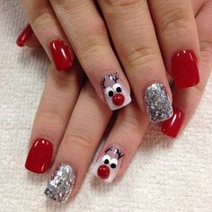 """Rudolph always looks good in red ❤️"" Photo taken by @professionalnailss on Instagram, pinned via the InstaPin iOS App! http://www.instapinapp.com (12/22/2015)"