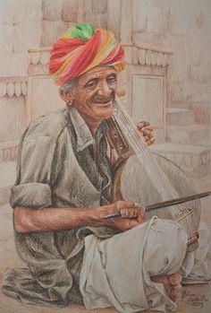 Kamaycha Player, Jaissalmer by melissaenderle