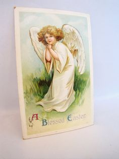 Vintage Postcard Easter Angel Religious Old post card by DDbuttons, $3.25