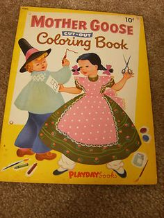 Old Mother Goose Paper Doll Coloring Book, Uncut, Uncolored, 1952 Vintage