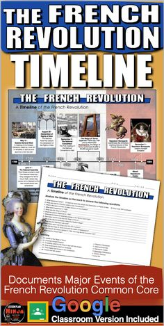 The French Revolution Timeline takes your students to France from 1789 to 1804. Students analyze the timeline and complete a twenty question common core aligned worksheet. This assesses students on the history of the French Revolution as well as timeline analysis. It can be used in class or as homework as it's a completely stand alone assignment. Key included.                                              #DistanceLearning #GoogleClassroom #WorldHistoryLessonPlans #LessonPlans… History Lesson Plans, Social Studies Lesson Plans, World History Lessons, Teaching Social Studies, Teaching History, French Revolution, Timeline, France, Activities