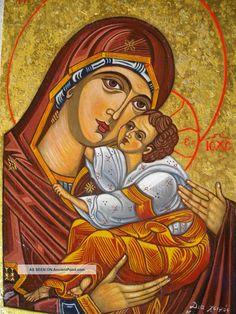 Amazing Handmade Greek Byzantine Icon Panaghia Christos Holly Mary Jesus Christ Other photo