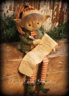 Primitive Christmas Santa's Little Elf Doll Making a List Woodland Christmas, Christmas Gingerbread, Christmas Snowman, Christmas Crafts, Simple Christmas, Christmas Ideas, Primitive Christmas Patterns, Primitive Santa, Primitive Ornaments