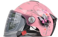 2014 HOT! Lovely Half Face Women Dirt Bike Motorcycle Helmet with Goggles for Summer \u0026 Red, White, Pink, Yellow SIZE L(China (Mainland))