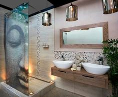 Love the idea of painted glass partition for the shower cubicle and also floor lights in the shower area!