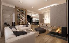 Aranżacja wnętrza salonu z kominkiem w domu jednorodzinnym – Tissu. Projekt przytulnego nowoczesnego wnętrza. Szyku nadaje kominek i krzesła Him, Her  Fabio Novembre