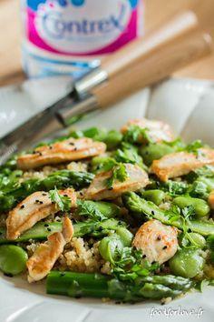 Salade de Quinoa, Asperges Vertes, Fèves et Poulet Grillé, Vinaigrette au Wasabi et Sésame Noir - Food for Love