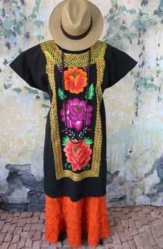 Floral Hand Embroidered Black Cotton Huipil Tehuana Mexico Hippie Boho Santa Fe #Handmade #DressHuipilMexicanDress