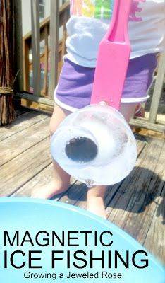 Make a batch of magnetic ice, add googly eyes,  and let kids go ICE fishing- how cute is this? Such a fun way for kids to play and explore on a hot day while also staying cool! Easy to set up, too!