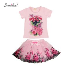 Cheap suit linen, Buy Quality suit 3 directly from China clothes rack for laundry room Suppliers: 2017 fashion summer children clothing sets kids girl boutique outfits print floral short  sleeve cotton tops skirt suits clothes