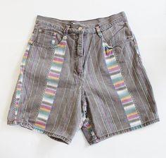 Vintage 90s NAVAJO Ikat Pattern Denim Shorts Women L - She Knows by bluebutterflyvintage on Etsy