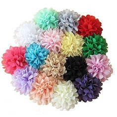 """JLIKA (50 pieces) Shabby Flowers - Chiffon Fabric Roses - 2.5"""" - Solids and Prints Included - Assorted Color Mix - Single Flowers Grab Bag"""