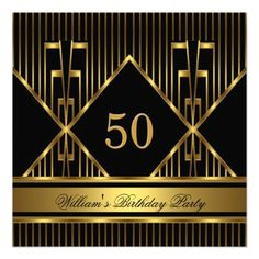 Elegant Mans Black Gold Stripe Birthday Party Mens Personalized Announcements