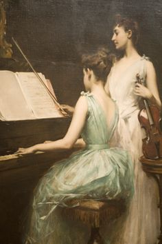 Fine Art giclee canvas reproduction on canvas. Buy online, a copy of the The sonata painting by the artist Irving Ramsay Wiles. Beautiful Paintings, American Artists, Art Google, Female Art, Painting & Drawing, Violin Painting, Wine Painting, Artist Painting, Art History