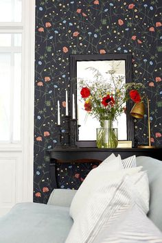 Midsummer by Boråstapeter - Black - Wallpaper : Wallpaper Direct Black Floral Wallpaper, Harlequin Wallpaper, Dark Wallpaper, Floral Wallpapers, Wallpaper Decor, Home Wallpaper, Floral Bedroom, Bedroom Decor, Marimekko Wallpaper