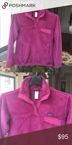 Patagonia Women's Re-Tool Snap Fleece Pullover Worn only once! This fuchsia pull over is so cute and super warm for the winter months. Patagonia Tops Sweatshirts & Hoodies