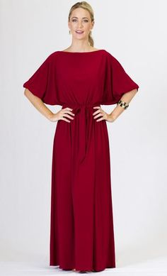 Maxi Dresses - Red Long Maxi Dress with Sleeves - Causal - Formal - Party