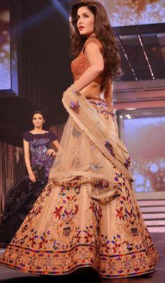 #BollywoodReplicas - Beige Embroidered Lehenga Choli Worn By Katrina Kaif (Bollywood Replica) Costs Rs. 8,851. #Apparels. BUY it here: http://www.artisangilt.com/apparels-bags/women-apparels/lehenga-choli-sets/beige-embroidered-lehenga-choli-worn-by-katrina-kaif-bollywood-replica-98853.html?ref=pin