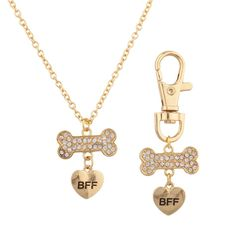 Lux Accessories BFF Best Friend Forever Dog Pet Animal Keychain Tag & Necklace Combo Collar Pave Bone Heart