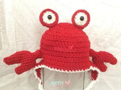 Crochet Crab Beanie// Animal Beanie by theknottykreations on Etsy