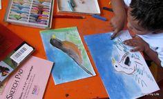 Chalk pastel study of birds