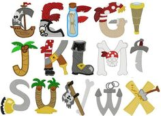 Pirate Font, Pirate Theme, Pirate Party, H Alphabet, Embroidery Alphabet, Commercial Embroidery Machine, Machine Embroidery, Baby Room Letters, Pirate Activities