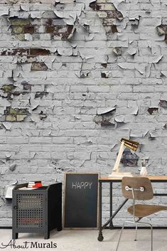 Peeling paint wallpaper creates an industrial feeling on walls. This realistic white brick wallpaper with peeling paint is removable, easy to hang and eco-friendly. It creates an urban feel in a home office, bedroom or living room. White Brick Wallpaper, Paint Wallpaper, Peeling Paint, Wall Murals, Eco Friendly, Industrial, Walls, Urban, Living Room