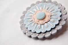 Peach Gray and Blue Brooch by SewSweetStitches on Etsy, $20.00