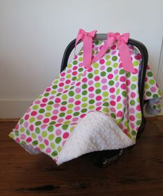 Watermelon & White Polka Dot Minky Car Seat Cover by Caught Ya Lookin' #zulily #zulilyfinds