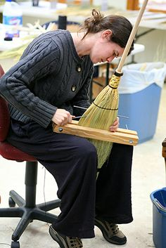 Susannah finishes her broom at the John C. Campbell Folk School   folkschool.org