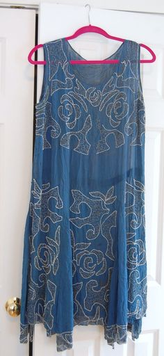 1920s blue beaded dress