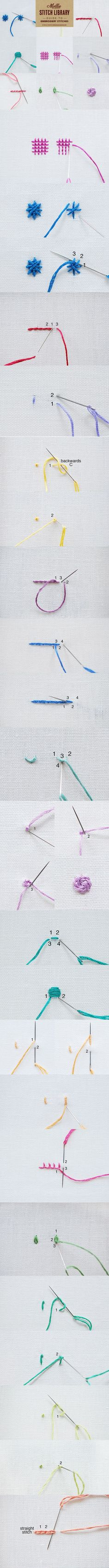 Knitting Patterns Stitches Learn 17 embroidery stitches with our handy guide. Bookmark or Pin this page for future reference or. Embroidery Designs, Hand Embroidery Stitches, Embroidery Techniques, Ribbon Embroidery, Embroidery Art, Cross Stitch Embroidery, Sewing Hacks, Sewing Crafts, Sewing Projects