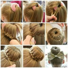 Top 5 Cute Bun Hairstyles for Girls will have you running for your comb and hairspray! These are some of our tried and true go-to styles for everyday! hairstyles Cute Bun Hairstyles for Girls - Our Top 5 Picks for School or Play Cute Bun Hairstyles, Dance Hairstyles, Little Girl Hairstyles, Braided Hairstyles, Gymnastics Hairstyles, Hairstyle Ideas, Fast Hairstyles, Hair Ideas, Girl Haircuts