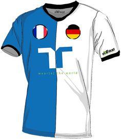 Frankreich - Deutschland l France  - Germany kurzarm Trikot mit Wunschnamen und Wunschnummer