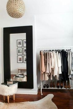 DIY Walk In Closet - How To Turn Spare Room Into Closet Shop domino for the top brands in home decor and be inspired by celebrity homes and famous interior designers. domino is your guide to living with style. Closet Bedroom, Bedroom Decor, Bedroom Ideas, Clothes Rack Bedroom, Spare Room Closet, Bedroom Inspo, Bedroom Designs, Closet Designs, Dream Closets