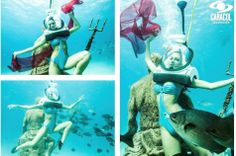 Lina Cardona . Colombia's Next Top Model, Cycle 2 Episode 14 > Photo Shoot 2: 6 Meters Underwater with a Diving Helmet, Posing with a Poseidon Statue